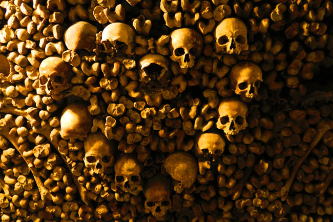 paris catacombs bones arranged in heart shape