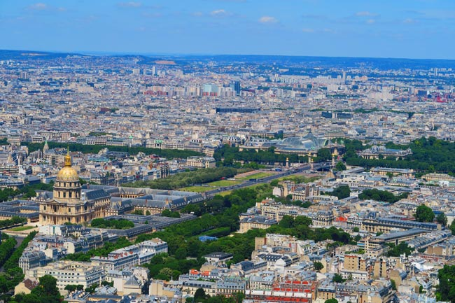 Pont Alexandre III and Grand Palais from Montparnasse Tower Paris