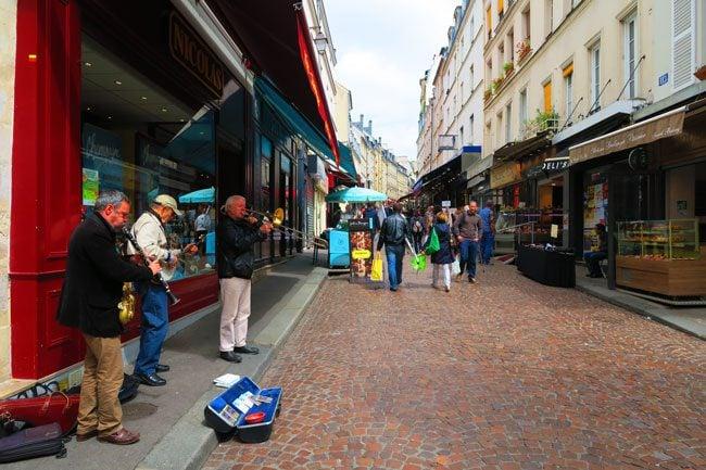 Rue Mouffetard Paris Latin Quarter Street Muscians