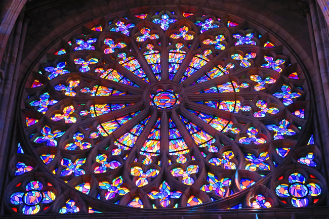 saint malo cathedral painted glass rose window
