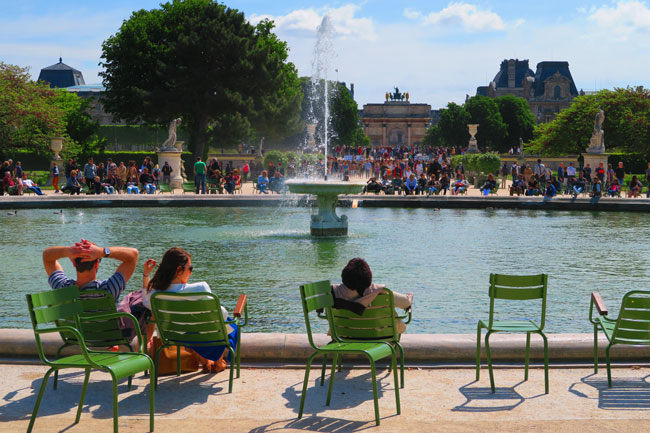 Tuileries Gardens Paris fountain view