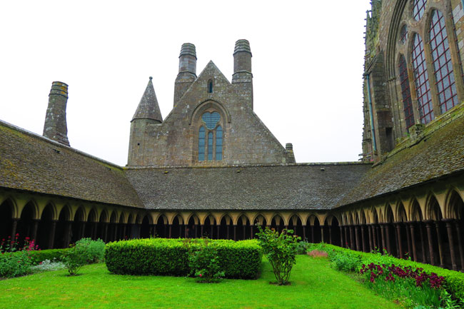 view across cloister mont saint michel abbey