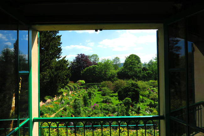 view of monet graden from bedroom giverny france