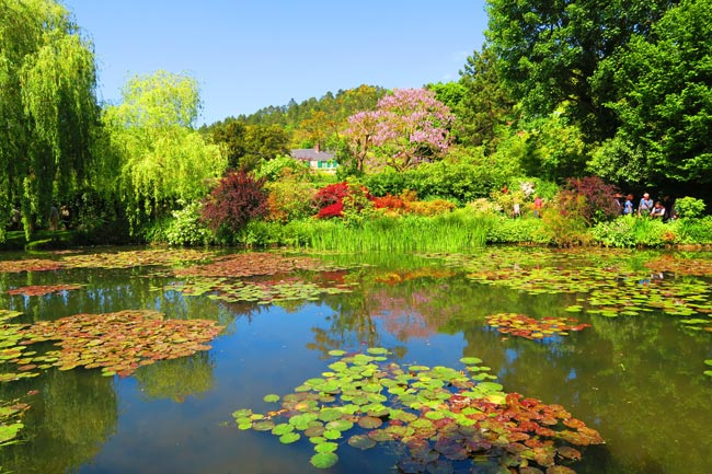 View of Monet house from lily pond Giverny