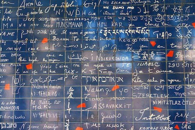 Le mur des je t'aime - the love wall Montmartre Paris closeup