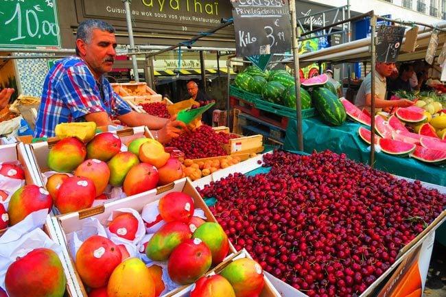 aligre market paris bastille cherries