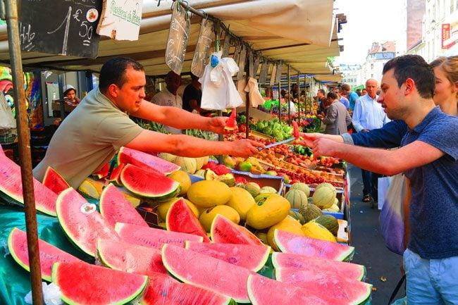 aligre market paris bastille watermelon