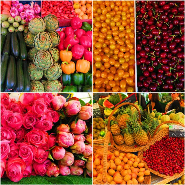 Aligre market paris fruits vegetables collage