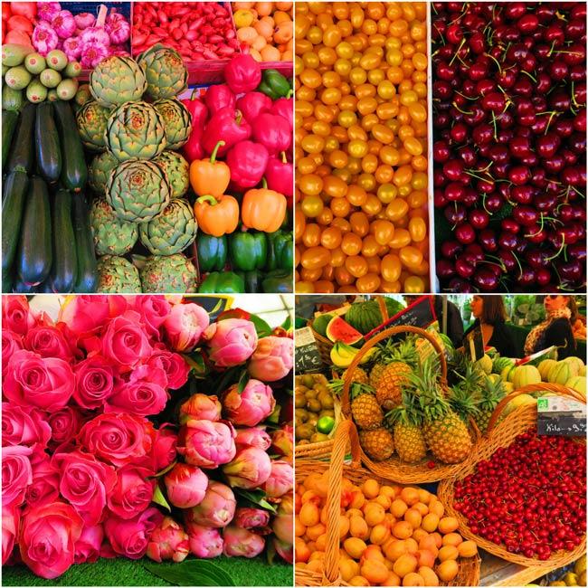 Aligre market paris fruits vegetables collage