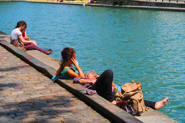 Canal Saint Martin eastern Paris sleeping