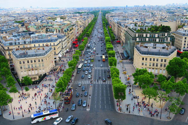 Champs Elysees paris from arc de triomph terrace