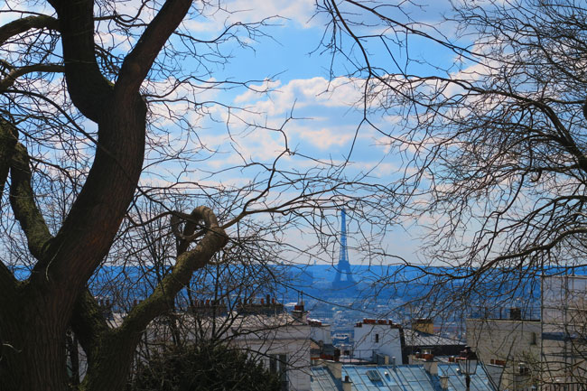 Eiffel tower from Montmartre spring