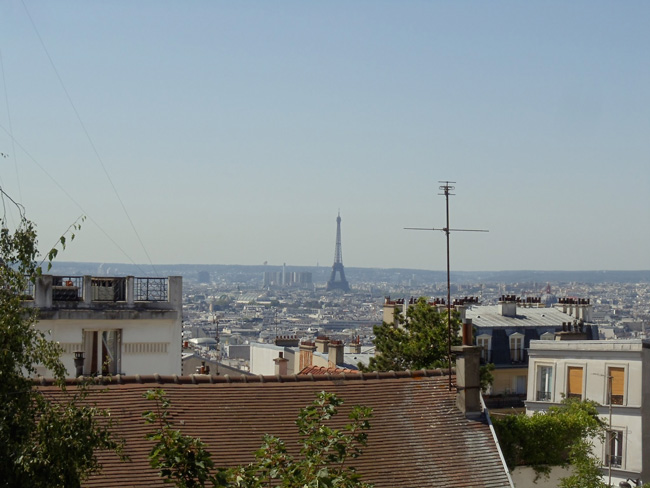 Eiffel tower from Montmartre summer