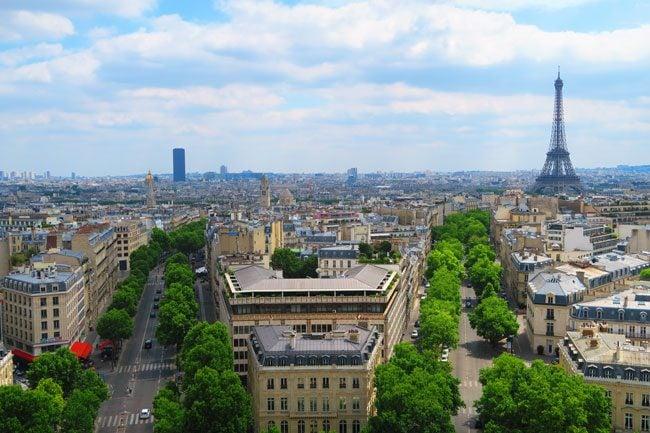 Eiffel Tower Paris from arc de triomph terrace