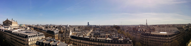 Panoramic view of Paris Grands Boulevards from Printemps