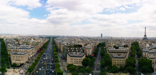 Paris panoramic view Arc de Triomphe terrace