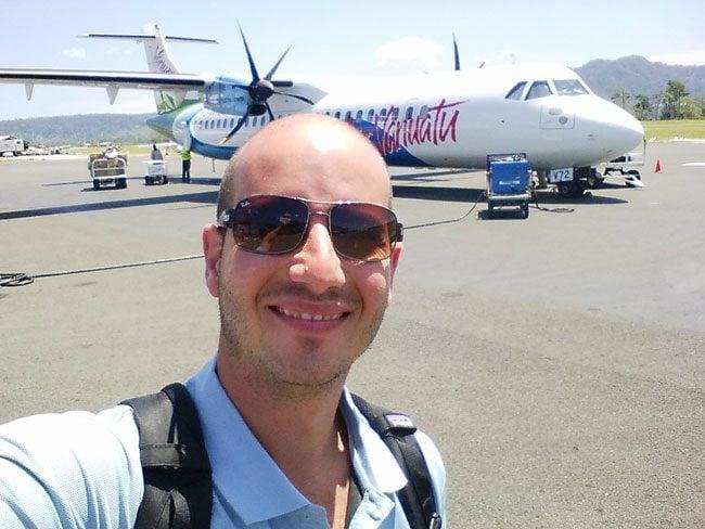 Air Vanuatu landing in Santo