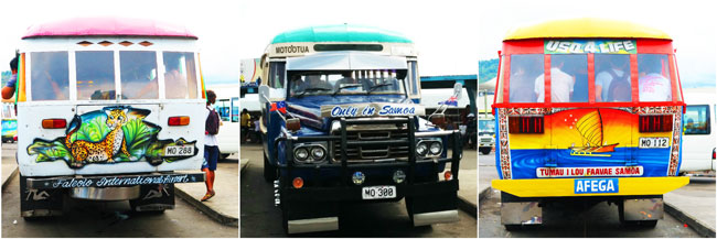 Bus in Samoa collage