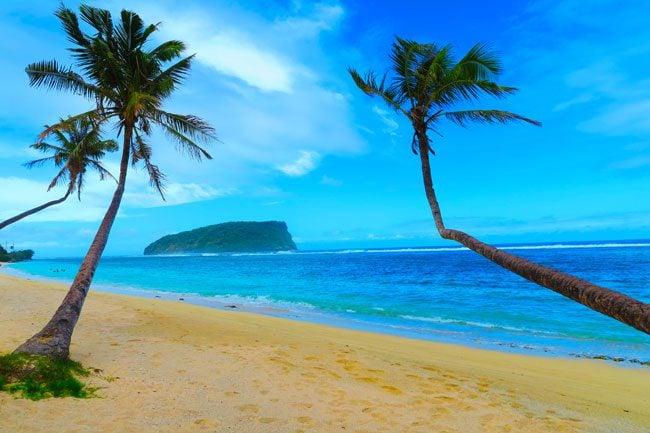 Lalomanu Beach Samoa palm trees weird angles