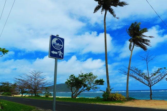 Lalomanu Beach Samoa tsunami sign