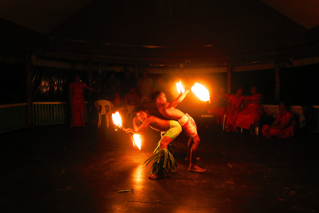 Lalomanu Beach fire dancing children Samoa