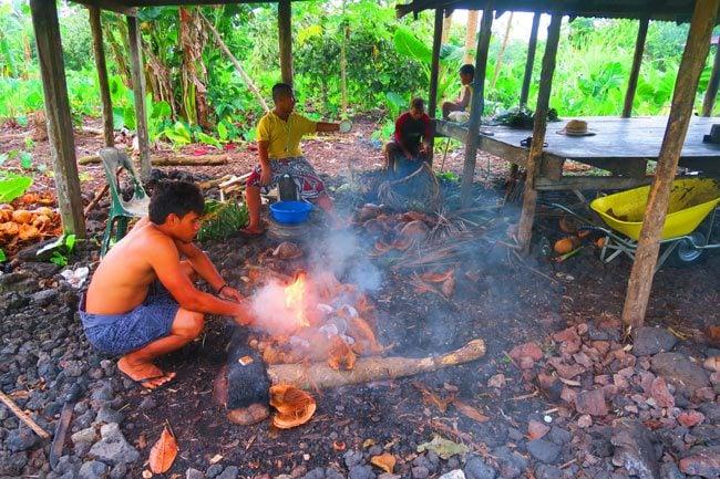 Making Umu in Samoa making fire