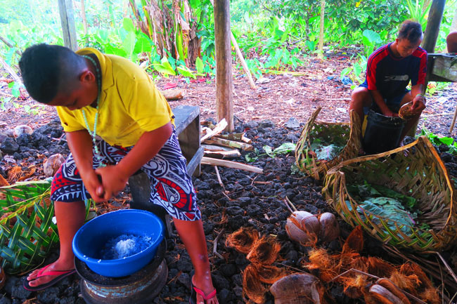 Making Umu in Samoa scraping coconuts 2
