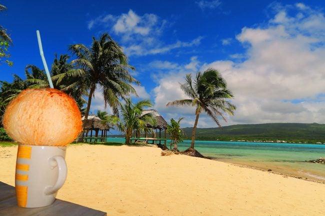 Namua Island Samoa drinking coconut water