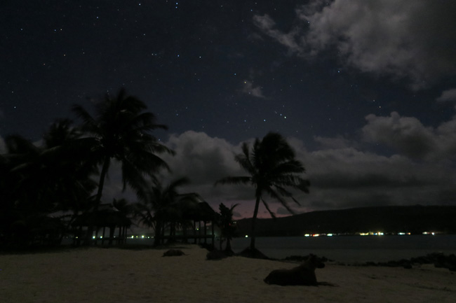 Namua Island Samoa stars in night sky