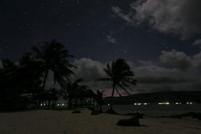 Namua Island Samoa stars in night sky