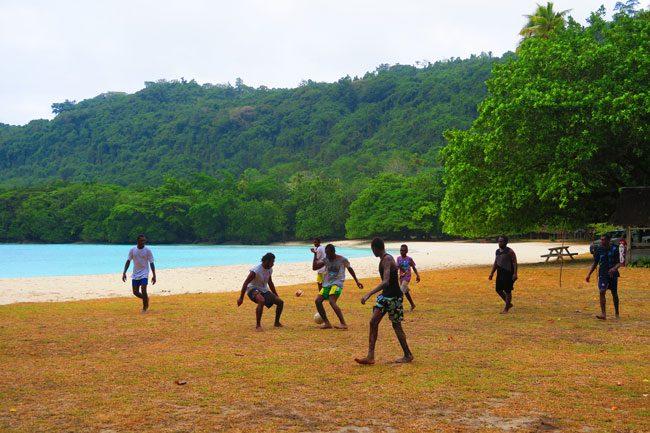 Playing Football Champagne Beach Vanuatu