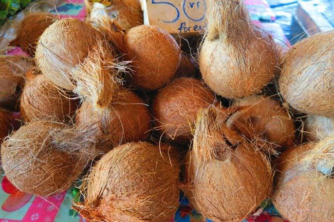 Port Vila market coconuts