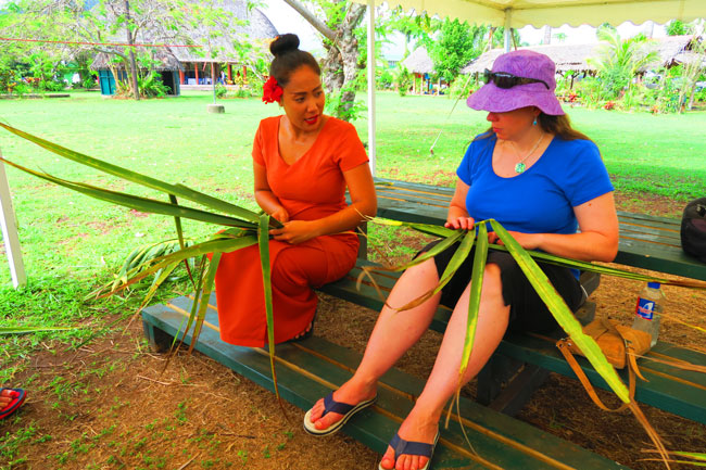 Samoan Cultural Village Apia coconut weaving