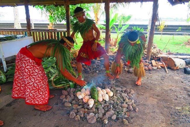 Samoan Cultural Village Apia making umu
