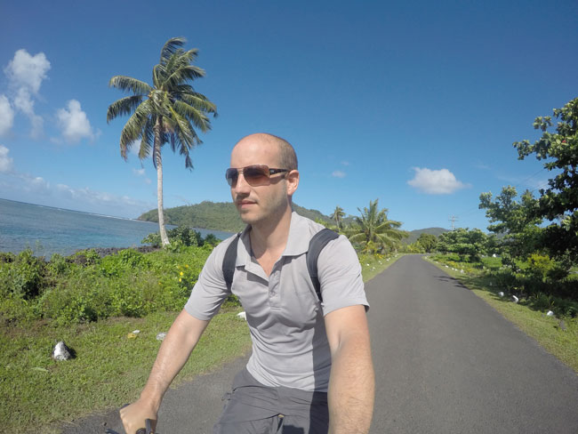Savaia Riding bicycle in Samoa