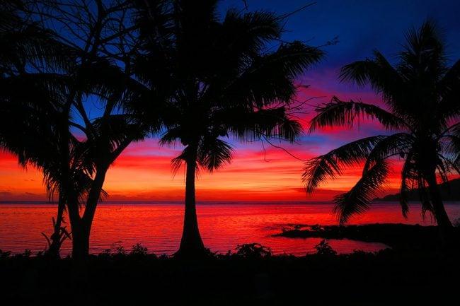 Savaia sunset in Samoa