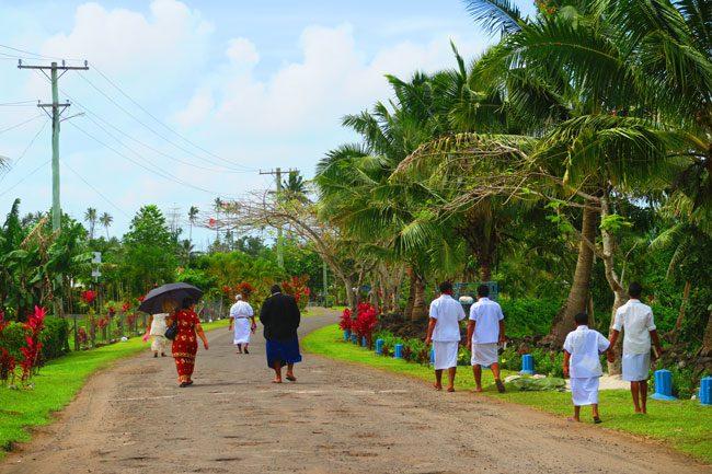 Savaia walking home from church