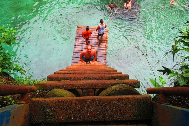 Tu Sua Ocean Trench Samoa climbing down ladder