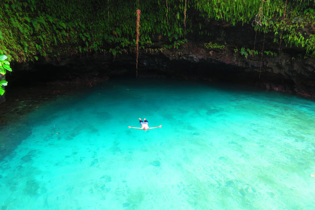 Tu Sua Ocean Trench Samoa floating in pool