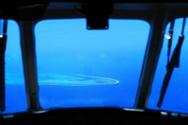 Aitutaki lagoon seen from plane in Cook Islands