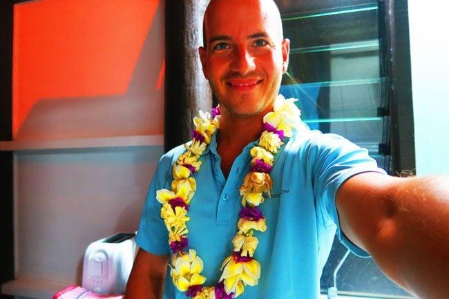 Ei flower necklace in Cook Islands