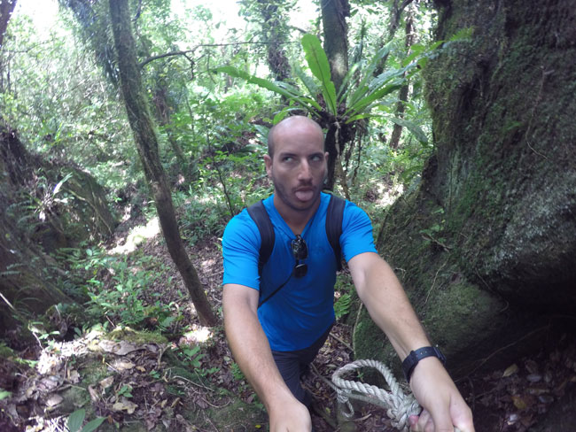 Exhausted shot climbing Tumu Mountain in Ofu American Samoa