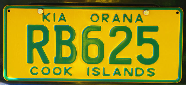 Kia Orana Cook Islands license plate