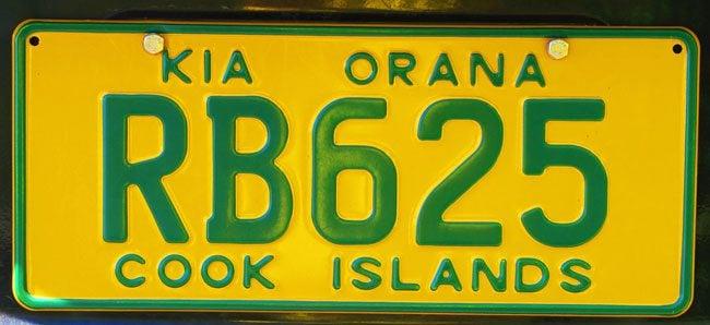 Kia Orana Cook Islands license plate