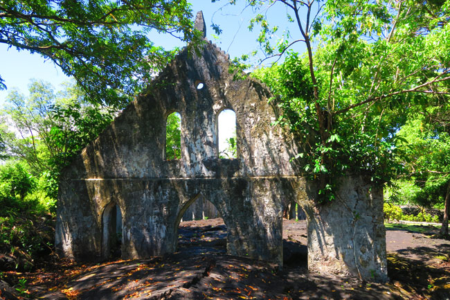 Lava Field Savaii Samoa - LMS Church outside