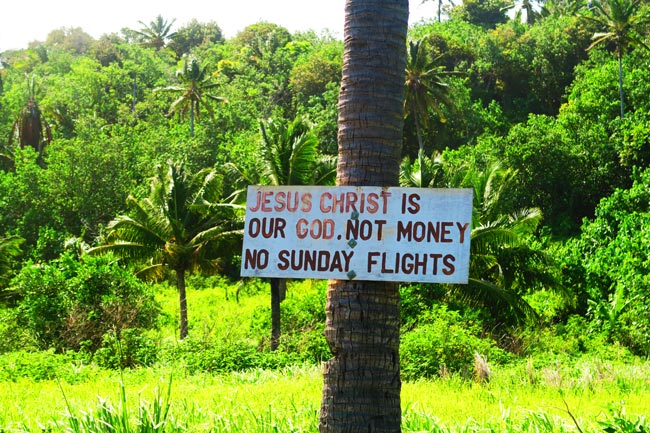 No flights on Sunday sign in Aitutaki Cook Islands