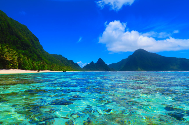 Ofu Beach in American Samoa from water