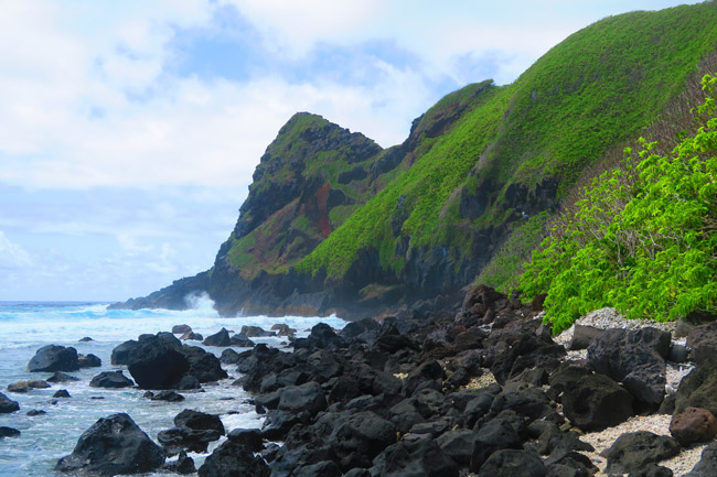 Oge Beach cliffs in American Samoa