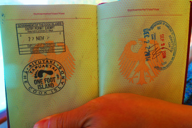 One Foot Island Aitutaki lagoon Cook Islands passport stamp