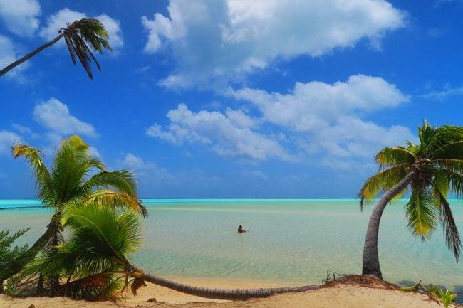 One Foot Island Aitutaki lagoon Cook Islands swimming and plam trees